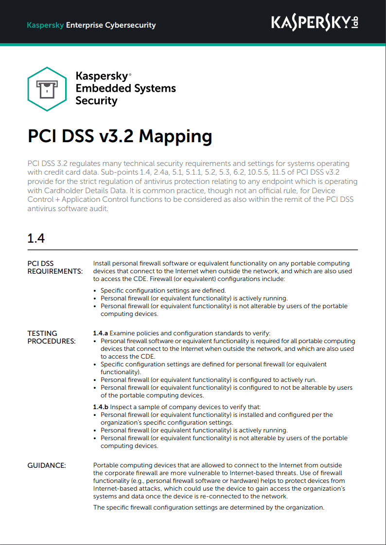 Kaspersky Embedded Systems Security - Asignaciones de PCI DSS v3.2