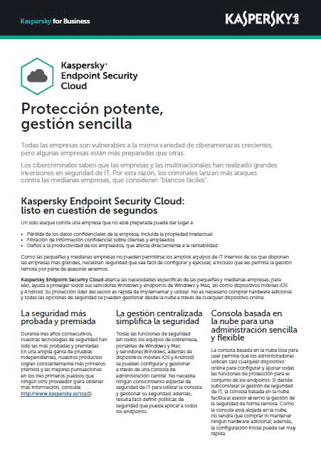 Kaspersky Endpoint Security Cloud- Ficha de producto