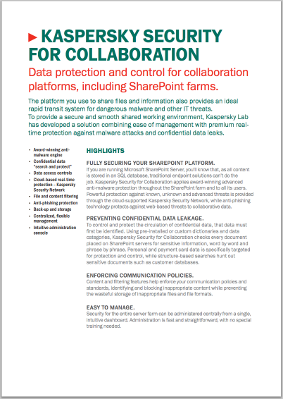 KASPERSKY SECURITY FOR COLLABORATION - HOJA DE DATOS