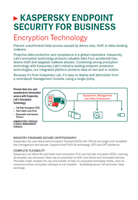 KASPERSKY ENDPOINT SECURITY FOR BUSINESS, TECNOLOGÍA DE CIFRADO - HOJA DE DATOS